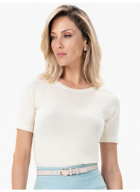 close meio corpo blusa de trico light off white claire