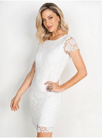 vestido principessa viviene de renda off white frente aproximado