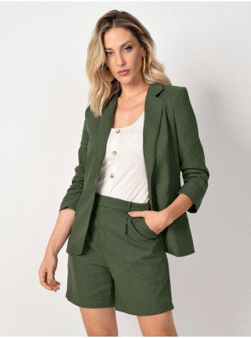 blazer verde manga franzida imagem meio corpo atena