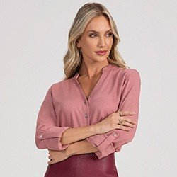 camisa feminina rose decote v herica