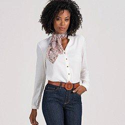 camisa social feminina off white holly