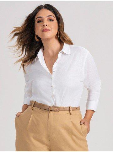 camisa feminina plus size branca de linho amarilis