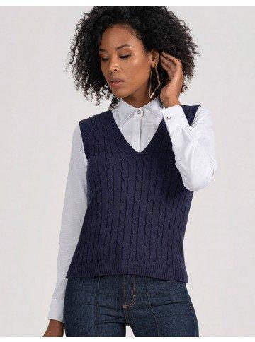 colete de trico marinho feminino hayden