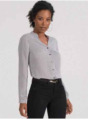 camisa manga longa of white listrada ieda frente