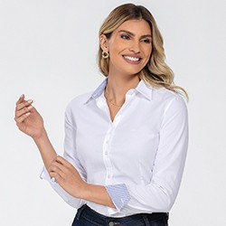 camisa feminina branca manga longa jamile detalhe