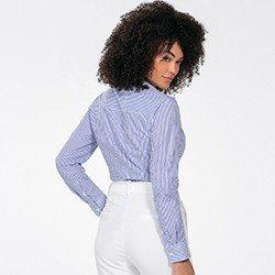 camisa feminina listrada azul janaina detalhe costas