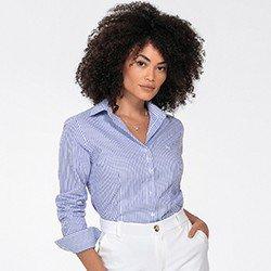 camisa feminina listrada azul janaina detalhe frente