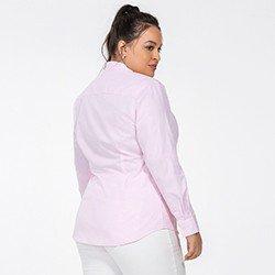 camisa social feminina plus size rosa jandira detalhe costas