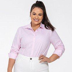 camisa social feminina plus size rosa jandira detalhe frente
