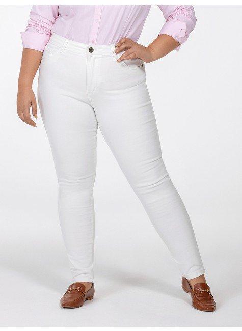calca feminina sarja branca plus size justina frente