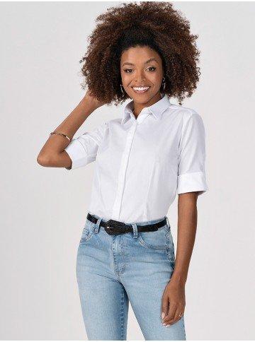 camisa branca com manga elzira gola
