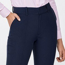 calca feminina de alfaiataria marinho josilene detalhe bolso