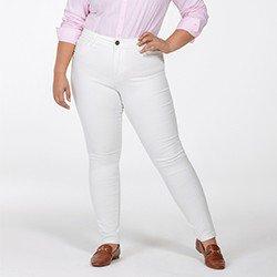 calca feminina plus size de sarja off white justina frente