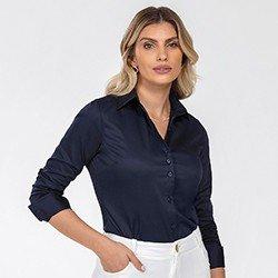 camisa feminina manga longa marinho janete frente