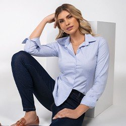 camisa feminina azul claro jessie frente