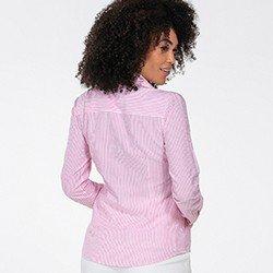 camisa feminina pink listrada jaque costas