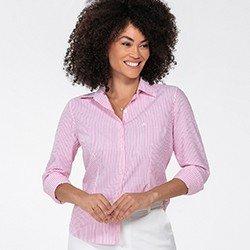 camisa feminina pink listrada jaque frente