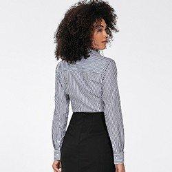 camisa feminina listrado preto e branco joselia costas