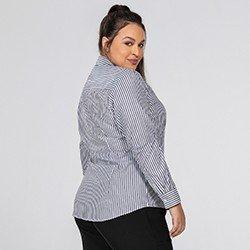 camisa feminina listrado preto e branco joselia costas plus