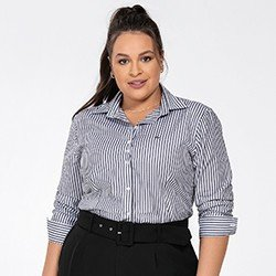 camisa feminina listrado preto e branco joselia frente plus