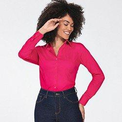 camisa feminina manga longa pink jaciara frente