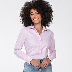 camisa social feminina rosa jandira frente