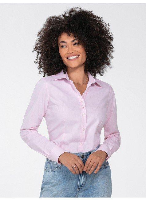 camisa social feminina rosa jandira frente perfil