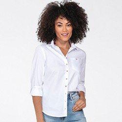 camisa oxford feminina branca nancy frente