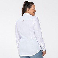 camisa oxford feminina branca nancy costas detalhe plus