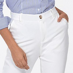 calca de alfaiataria reta off white delany frente detalhe mini