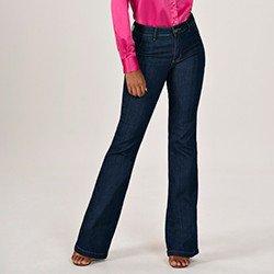 calca jeans modelo alfaiataria flare cintura media eleine mini frente