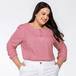 blusa manga longa rosa poa kerolyn