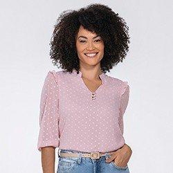 blusa rosa manga bufante katherine