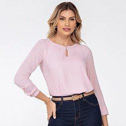 blusa rosa manga longa keyla