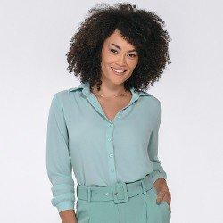 camisa feminina manga longa kailany mini frente