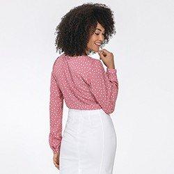 blusa feminina rosa de poa kerolyn mini costas