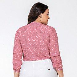 blusa feminina rosa de poa kerolyn mini costas plus