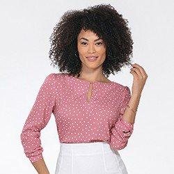 blusa feminina rosa de poa kerolyn mini frente