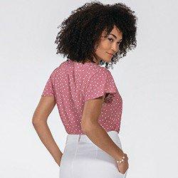 blusa rosa de poa karina mini costas