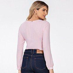 blusa manga longa rosa keila mini costas