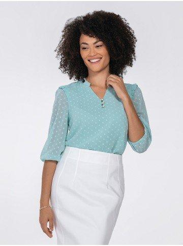 blusa feminina com babados kesia frente