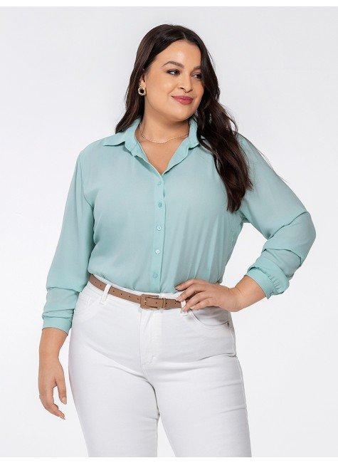 camisa feminina manga longa kailany frente plus