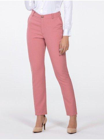 calca feminina de alfaiataria rosa kassia frente