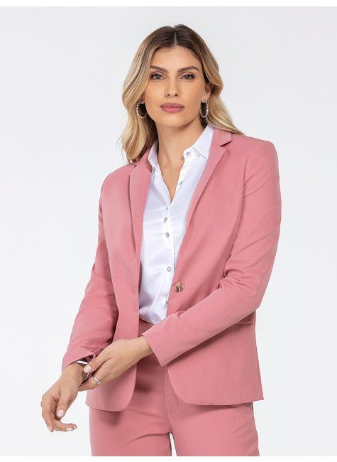 blazer alfaiataria rosa katlin frente