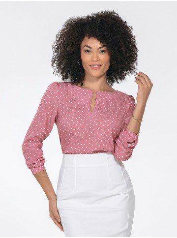 blusa feminina rosa de poa kerolyn frente