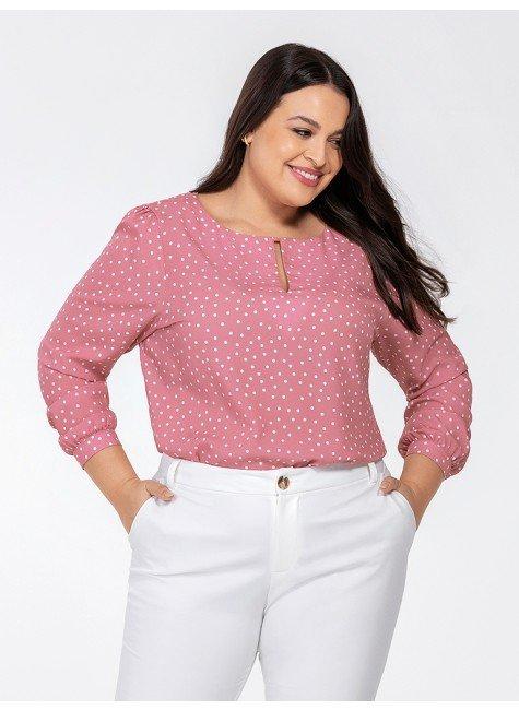 blusa feminina rosa de poa kerolyn frente plus