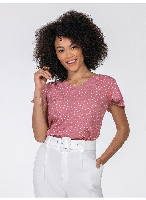 blusa rosa de poa karina frente