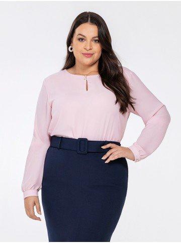 blusa manga longa rosa keila frente plus