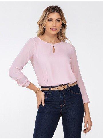 blusa manga longa rosa keila frente