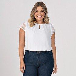 blusa plus size off white mangas rendadas halle frente mini